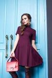Seksownej piękno kobiety makeup mody odzieżowy styl Zdjęcia Stock