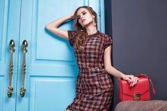 Seksownej piękno kobiety makeup mody odzieżowy styl Obrazy Stock