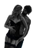 Seksowni eleganccy para kochankowie ściska sylwetkę Fotografia Royalty Free