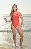 Seksowny żeński ratownik na plaży Obrazy Royalty Free
