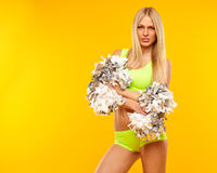 Seksowny blondynki kobiety chirliderka Zdjęcie Royalty Free