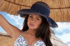 seksowny dziewczyna błękitny kapelusz Zdjęcie Royalty Free