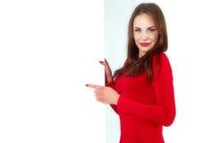 Seksowny dziewczyna chwyt sztandar Zdjęcie Royalty Free