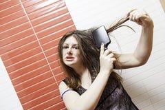 Seksowny dziewczyny czesanie Fotografia Royalty Free