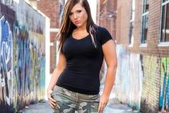 Seksowny dziewczyny mody model z brown włosy obraz stock