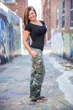 Seksowny dziewczyny mody model z brown włosy zdjęcie royalty free