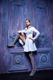 Seksowny kobieta smokingowego kostiumu inkasowego biznesu przyjęcia mody styl Fotografia Royalty Free