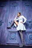 Seksowny kobieta smokingowego kostiumu inkasowego biznesu przyjęcia mody styl Obrazy Stock