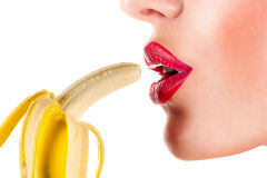 Seksowny kobiety łasowania banan zdjęcie royalty free