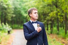 Seksowny mężczyzna w smokingu i łęku krawata pozować Zdjęcie Stock