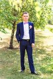 Seksowny mężczyzna w smokingu i łęku krawata pozować Fotografia Royalty Free