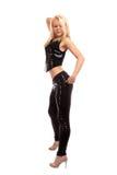 Seksowny młody blondynki kobiety taniec Zdjęcia Stock