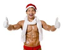 Seksowny mężczyzna Święty Mikołaj Zdjęcia Royalty Free