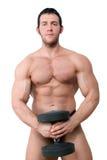 Seksowny Mięśniowy bodybuilder odizolowywający na bielu. Obraz Royalty Free