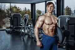 Seksowny mięśniowy mężczyzna pozuje w gym, kształtny brzuszny Silny męski nagi półpostaci abs, pracujący out Obrazy Royalty Free