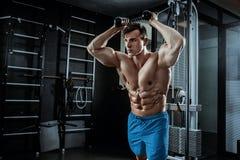 Seksowny mięśniowy mężczyzna pozuje w gym, kształtny brzuszny Silny męski nagi półpostaci abs, pracujący out Fotografia Royalty Free