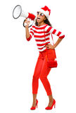 Seksowny moda model w czerwonym jest ubranym Bożenarodzeniowym kapeluszu Obraz Stock