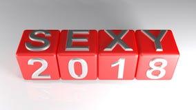 Seksowny 2018 na czerwonych sześcianach - 3D rendering Fotografia Stock