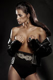 Seksowny oszałamiająco brunetki piękno w romantycznej pozie Obraz Royalty Free