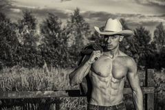 Seksowny rolnik lub kowboj obok siana pola obraz royalty free