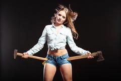 Seksowny silny kobiety feministka z ciosk pracować Obraz Royalty Free