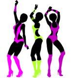 Seksowny tancerz ustawiający: piękne seksowne dziewczyny w jaskrawej bieliźnie Zdjęcia Stock