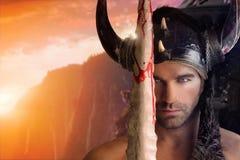 Seksowny wojownika mężczyzna Fotografia Royalty Free