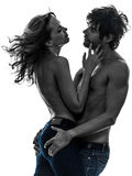Seksownych eleganckich para kochanków kochanków toples sylwetka Obraz Royalty Free