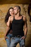 Seksueel paar in het hol Stock Foto's