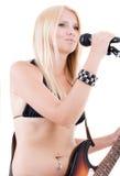 Seksuele blonde en een gitaar Royalty-vrije Stock Foto