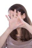 Seksuele herassment - geïsoleerde de vrouw zegt nr. Stock Foto's