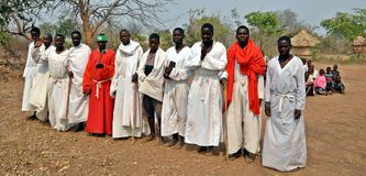 Sekte Zimbabwe van de Mapostori de Openluchtkerk Royalty-vrije Stock Foto's