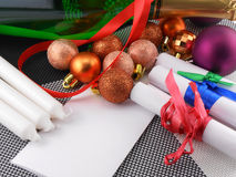 Sektflasche, Karte des neuen Jahres, Weihnachtsdekoration Stockfoto