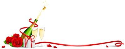 Sektflasche mit Champagnerglasrosen und -geschenk lokalisierte Vektor stock abbildung