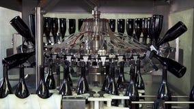 Sektflaschen auf FabrikFörderband, Spritzflaschen für das Abfüllen stock video