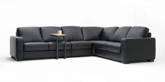 sektions- sofa för läder Arkivbilder