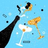 Sektkelche und Flasche Netter Feiertag Alkoholische Getränke Parteifeier Stockbild