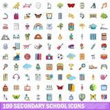 100 Sekundärschuleikonen eingestellt, Karikaturart Stockfotografie