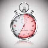35 sekund Srebny realistyczny stopwatch z odbiciem wektor Fotografia Stock