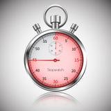 45 sekunda Srebny realistyczny stopwatch z odbiciem wektor Zdjęcia Royalty Free