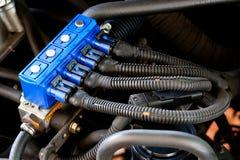 Sekventiell gasinjektion för bil Arkivfoto