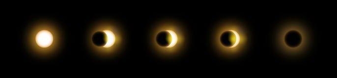Sekwencja słonecznego i księżycowego zaćmienia wektor royalty ilustracja