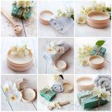 Sel de mer, crème de beauté avec la fleur et les orchidées de jasmin, huile essentielle et serviettes blanches, collage de concep Photos stock