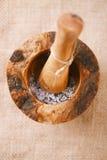 Sel de mer et grains de poivre noirs dans le mortier avec le pilon Photographie stock libre de droits