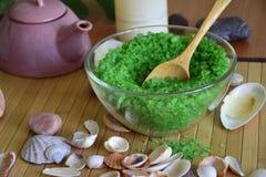 Sel de mer verte pour la salle de bains Image libre de droits