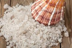 Sel et coquille de mer sur un bois Photographie stock libre de droits