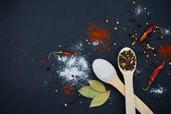 Sel et poivre sur les cuillères en bois photos stock
