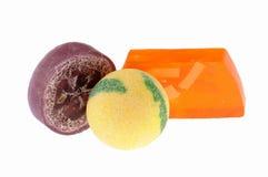 Sel et savon de bain fabriqués à la main Photographie stock