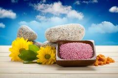 Sel, fleurs et pierres de Bath Photos stock
