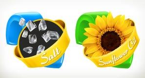Sel, huile de tournesol Marque 3d le vecteur, design d'emballage Photographie stock